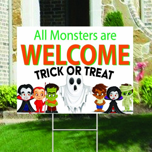 All Monsters Welcome yard sign