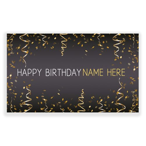 Gold Happy Birthday Custom Banner