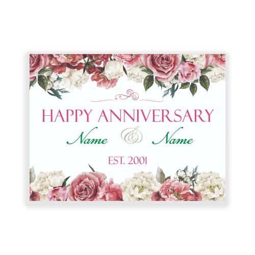 Anniversary Yard Sign Flowers Elegant