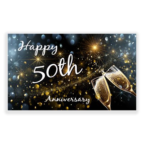 Happy Anniversary 5x3 Banner Champagne