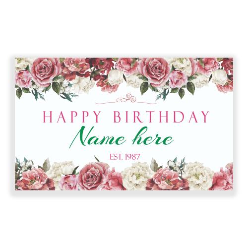 Happy Birthday 5x3 Banner Flowers Elegant