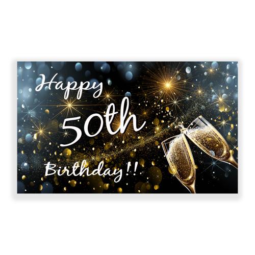 Happy Birthday Yard Sign Champagne