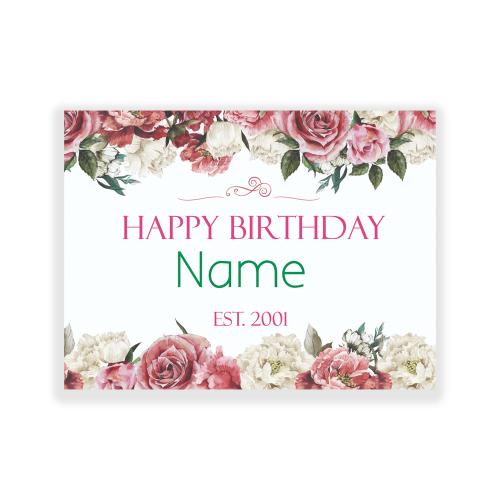 Happy Birthday Yard Sign Flowers Elegant